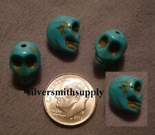 Turquoise howlite skull beads 12X10mm drilled top to bottom 4 pc lot  fpb155