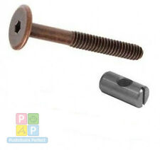 4 of m6 x 90mm bronze bed bolts with 14mm barrel nuts, cot, cot bed, furniture