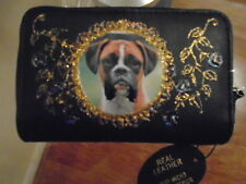 NEW BLACK LEATHER GORGEOUS BOXER DOG   PICTURE PURSE /WALLET