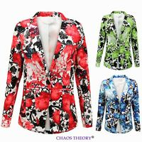 Womens Ladies Floral Print Casual One Button Front Blazer Summer Fashion Jacket