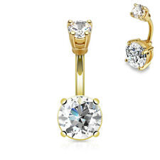 1 Pc 14K Gold Plated Giant 10MM C.Z. Prong Set  Double Gem Belly Ring 14g 3/8""