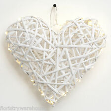 Wicker Heart White with LED Battery Lights 25cm/10 Inch Wedding Decoration