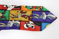 Men's VTG Loony Tunes Tie Bugs Bunny Willey Coyote Taz Tweety Bird Pepe Le Pew