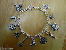 Wiccan 11 Charm Bracelet - pentacle pagan jewellery silver yule christmas gift