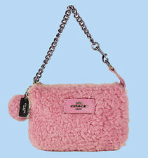 COACH 64748 Nolita Marshmallow Pink Hearling & Leather Wristlet Purse Msrp $125