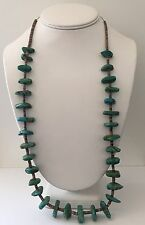 "Santo Domingo Vintage Old Turquoise Nugget Heishi Necklace REPAIR 29"" 72gr"