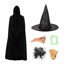 Witch Halloween Fancy Dress Set (Hat, Nose, Teeth, Chin, Claws & Cape)
