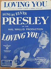 "♫ ELVIS PRESLEY rare 1957 vintage sheet music ""LOVING YOU""  ♫"