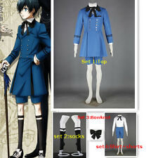 Black Butler Ciel Phantomhive Cosplay Costume Blue Outfit+socks