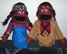 """2 Native American Indian Puppets-13"""" tall  for Ministry, teachers, Education"""