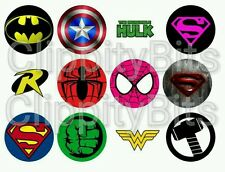 "50 x 1"" Inch Bottle Cap Images SuperHero Logo badges pictures craft bows clips"