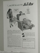 1958 La-Z-Boy advertisement, Dad in recliner chair, can't pry him out, Lazy Boy