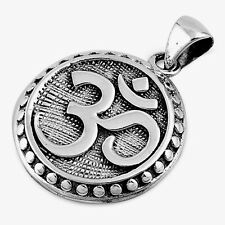 USA Seller Om Sign Pendant Sterling Silver 925 Best Price Jewelry Gift 23 mm