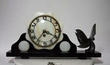 FRENCH   CLOCK WITH  PARADISE BIRD MARBLE BASE  ART DECO 1920
