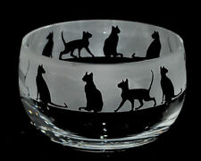 *CAT GIFT* 12cm BOXED CRYSTAL GLASS BOWL with SIAMESE CAT Frieze