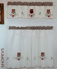 Owl Kitchen Curtain with Swag and Tier Set 36 in