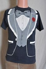 Vintage '80s faded black tuxedo hipster t shirt S
