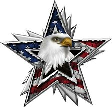 American Flag Eagle Star Decal Pair- Chevy Dodge Ford Toyota - High Quality!!