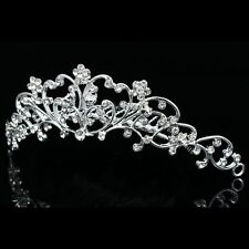 Floral Bridal Rhinestone Crystal Prom Wedding Tiara Hair Comb V795