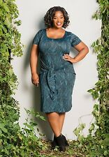 Plus Size Dress Polyester Spandex Short Sleeve Made USA SWAK Blue Black White