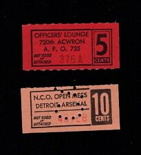 WWII Patriotic Ancillary Ephemera NCO Open Mess & Officers' Lounge Tickets 4p