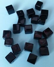 20 GLASS CUBE BEADS 8x8mm BLACK SQUARE BEADS