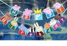 Peppa Pig Happy Birthday Banner birthday party decor bunting garlands