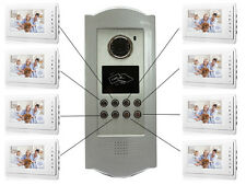 Apartment Intercom System RFID HID Card 8 Unit Video Door Phone Audio Visual