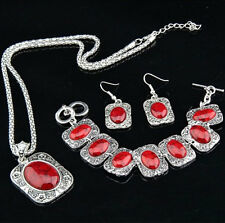 Square Rectangle Red Turquoise Natural Necklace Earrings Bracelet Jewelry Set