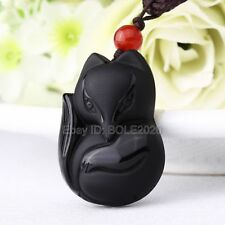 100% Natural Black Obsidian Carved 33x25mm Cute Fox Lucky Pendant +Rope Necklace