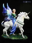 """Anne Stokes Statue: """"Realm of Enchantment"""" Fairy with Unicorn and Dragon"""