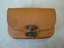 BRAND NEW camel brown GENUINE LEATHER POUCH/ BELT BAG WITH TWO  POCKETS  FOR MEN