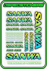 SANWA RC RADIO CONTROL STICKERS MT4 M12 SERVO RX TX CAR BUGGY NITRO BLUE YELLO B