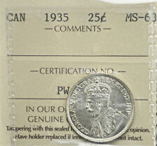 1935 Canada 25 cents ICCS graded MS-63