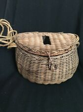 Antique Fishing Creel Wicker Basket Fly Fish Old Vintage Fishermans Decorative