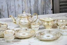 Antique Gold Tea Set Cups Saucers Creamer Teapot Old Paris Medallions Asian Tree