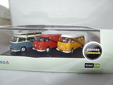 Oxford 76SET35 Volkswagen VW Bay Window Set Red Van Blue Bus Yellow Camper