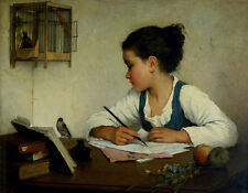 A Girl Writing; The Pet Goldfinch Henriette Browne Vögel Käfig Feder B A3 02262