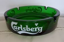 Gift for men Carlsberg ashtray green glass collectable large ashtray UK seller