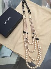 RUNWAY CHANEL 03P 4 STRAND PEARL & BLACK BEAD CC LOGO NECKLACE 100% AUTHENTIC