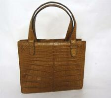 MODELL GOLD PFEIL VINTAGE BROWN CROCODILE SKIN FRAME HANDBAG RETRO