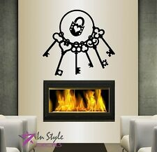 Vinyl Decal Bunch Of Antique Skeleton Keys and Lock Wall Sticker 201