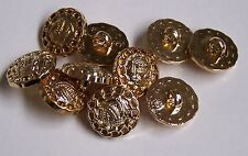 Pack of 10 Gold Ball of Wool design Loop/Shank 15mm button 0014