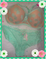 36DD Hibiscus Lace Cage Back Victorias Secret Green PINK PushUp Bra Cheekster