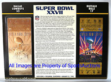 DALLAS COWBOYS vs BILLS Willabee & Ward 22KT GOLD SUPER BOWL 27 TICKET SB XXVII