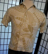 Cubavera men's aloha cigar lounge Hawaiian retro palm leaves tiki shirt small s