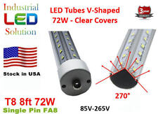 4-Pack 8Ft, 72W, Cold 6000K, Clear, V-LED T8 T10 LED Tube Light single pin FA8