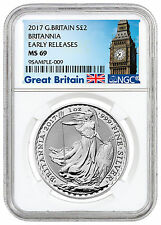 2017 Great Britain 2 Pound 1 oz. Silver Britannia NGC MS69 ER (Britain) SKU43891