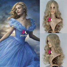 New Movie Princess Cinderella Wig women Long Curly Ash Blonde Anime Cosplay Wig
