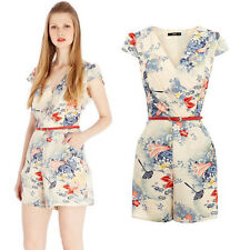 rural v-neck printing cultivate  jumpsuit with belt